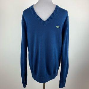 Lacoste blue v neck sweater sz Small